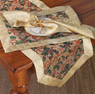 Christmas Holly Ribbon V Shaped Sheer Gold Table Runner In 4 Sizes