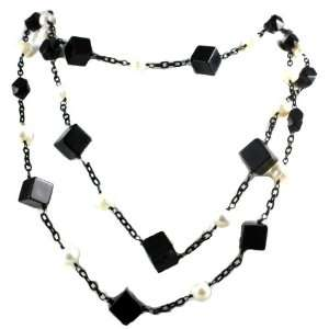 Designer Alex Carol Beautiful Triple Stranded Black Onyx Crystal and