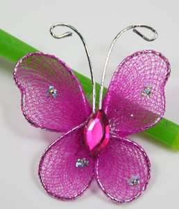 100pc hot pink Stocking Butterfly Wedding Decoration1