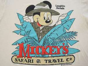 SOFT 80s vintage MICKEY MOUSE safari T SHIRT disney LARGE