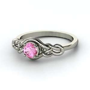 Sailors Knot Ring, Round Pink Sapphire Platinum Ring