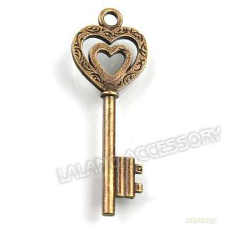 100pcs Vintage Bronze Princess Heart Key Pendants Lot 52mm Alloy