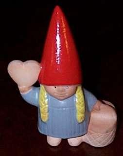 LISA LARSON DESIGN Gnome Girl w/Heart CANDLEHOLDER Red Hat