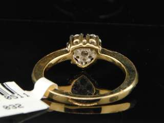 14K LADIES WOMENS YELLOW GOLD ROUND CUT HEART SHAPE DIAMOND ENGAGEMENT