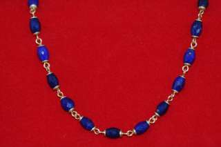 Me&Ro Hand Carved Lapis Bead Necklace 18k