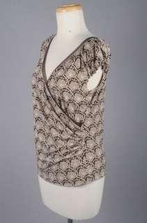 MAX STUDIO Brown/Mocha Floral Print Wrap Top Blouse S