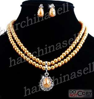 Rhinestone Alloy Imitate Pearl Necklace Earring 6sets Wholesale