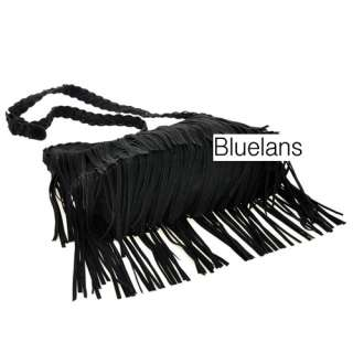 Celebrity Fringe Tassel Faux Suede Shoulder Messenger Bag Handbag