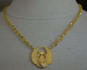 GOLD TONE SCARAB NECKLACE NWOT MAGIKAL LUCK