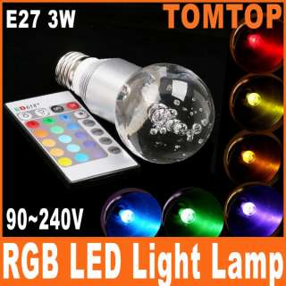 E27 3W 16 Color RGB Crystal Flash LED Light Bulb with Remote Control