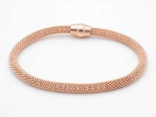 18K ROSE GOLD SILVER DIAMOND CUT SOFT MESH BRACELET NEW
