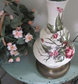 WHITE GLASS w PINK ROSES & GREEN LEAVES Vintage SIGNED 1940s Table