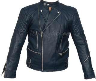 Brando Bikers Black Motorcycle Leather Jacket Racer Punk Vintage Cow