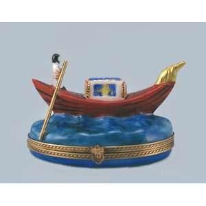 Italian Gondolier in Gondola in Venice French Limoges Box