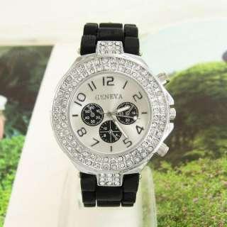 Silicone Band Geneva Lady Women Sports Jelly Wrist Watch DM598B