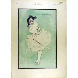 1897 MamZelle Sketche Theatrelady Garden Fashion Dress