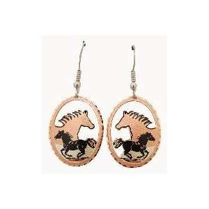 Copper & Gold Plated Earrings with Black Patina   Horses