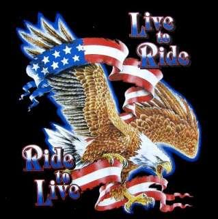 LIVE TO RIDE RIDE TO LIVE BIKER EAGLE FLAG T SHIRT 206