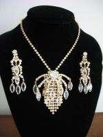 Vintage D&E Juliana Clear Rhinestone Necklace Earrings