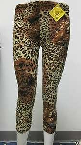 Brown Animal Leopard Leggings Jeggings Tights Large