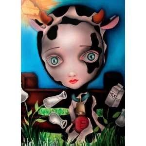 Cow Girl by Artist Abril Andrade Dia de Los Muertos Sugar