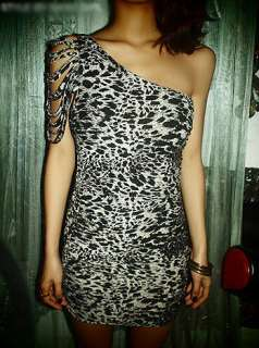 Sexy One Shoulder Leopard Clubbing Cocktail Mini Dress