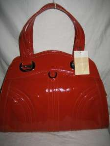 BALLY Large Red Patent Leather Satchel Shoulder Bag Handbag Purse NEW