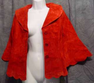 Buttery SOFT Flirty Blood RED Suede LEATHER Jacket 6