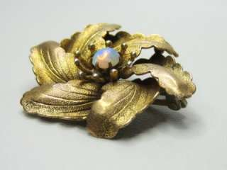 Antique Victorian Flashy Opal Rolled Gold Pinwheel Floral Brooch