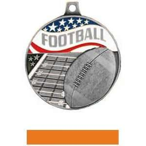 Custom Football Medal M 750F SILVER MEDAL/ORANGE RIBBON 2