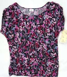 NEW XL OH BABY MATERNITY Black/Pinks Floral Shirt/Blouse