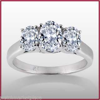 84 Carat 3 Stone Oval Cut Diamond Engagement Ring G SI2 EGL