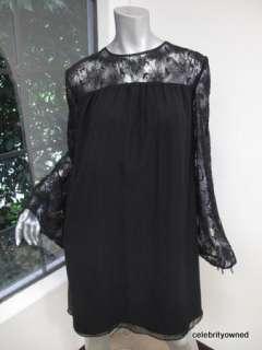 Jenni Kayne Black Lace Sleeve/Neck Relaxed Dress M