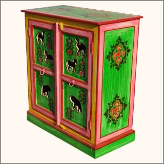 Hand Painted Solid Wood Storage Kitchen Cabinet w Floral Animal Design