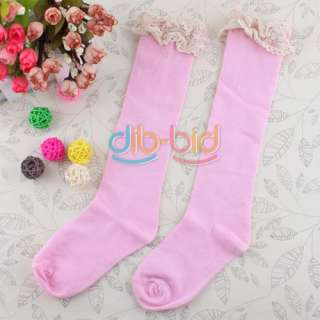 New Kids Princess Ruffle Lace Knee High Socks Stockings 01