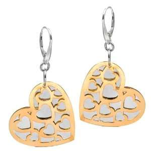 Sterling Silver Laser Cut Gold Plated Hamilton Color Valentines Heart