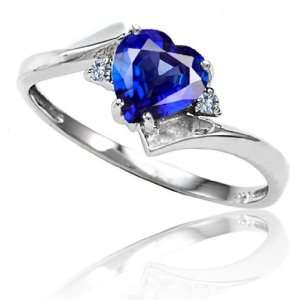 Candygem 10k Gold Lab Created Heart Shape Sapphire and Diamond Ring