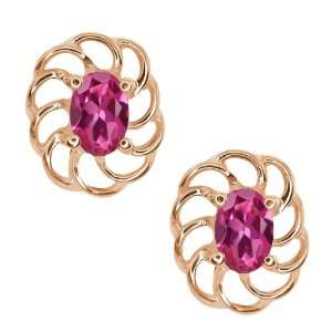 1.00 Ct Oval Pink Tourmaline 10k Rose Gold Earrings Jewelry