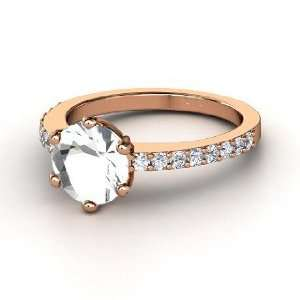 Majesty Ring, Round Rock Crystal 14K Rose Gold Ring with
