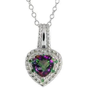 54 Ct Heart Shape Green Mystic Topaz and Diamond Sterling Silver