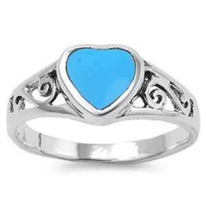 Sterling Silver Ring W/ Turquoise Stone (Heart Shape
