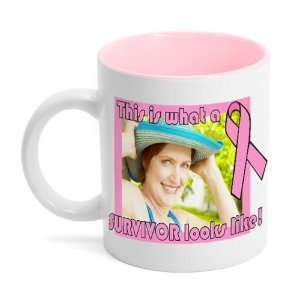 Pink Ribbon Breast Cancer Survivor Photo Mug