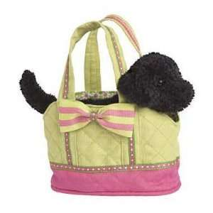 Pink and Lime Green Tote with Black Lab Plush Dog Toys & Games