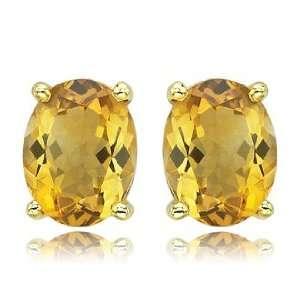 Set Oval Yellow Citrine Gemstone November Birthstone Stud Earrings