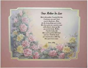 Mother In Law Personalized Poem For Mothers Day