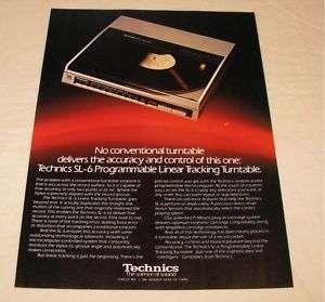 Technics SL 6 Linear Tracking Turntable PRINT AD 1984