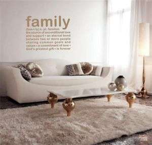 Vinyl lettering FAMILY DEFINITION sticky wall decal words art