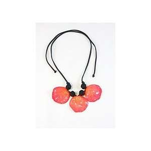 REAL FLOWER Pink Rose Pendant Necklace Petals Large