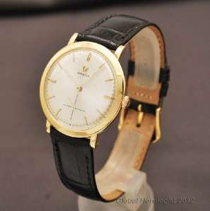 OMEGA 18K SOLID YELLOW GOLD MANUAL WIND VINTAGE 1950s MENS DRESS WATCH