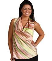 Anne Klein Plus   Plus Size Striped Drape Neck Sleeveless Blouse